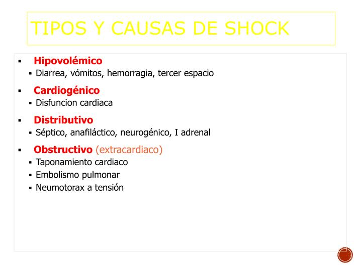 TIPOS y CAUSAS DE SHOCK