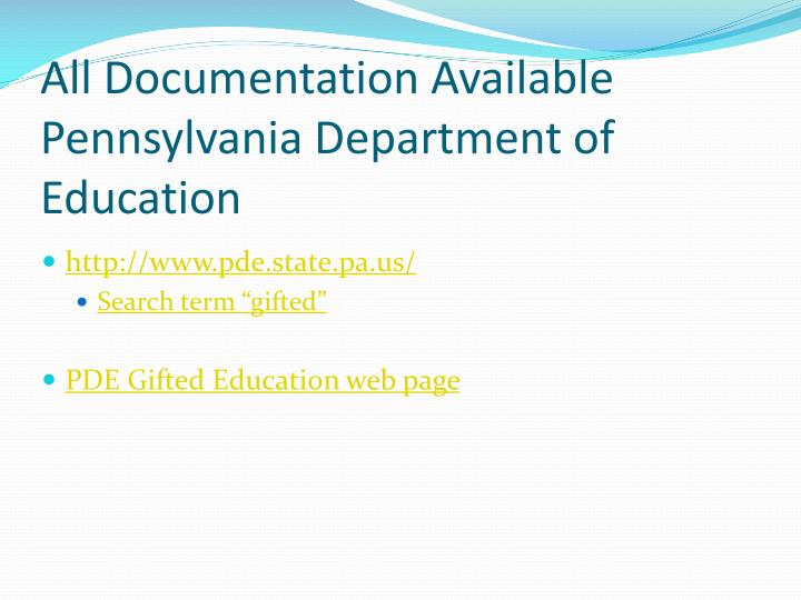 All documentation available pennsylvania department of education