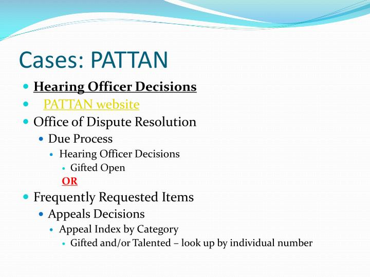 Cases: PATTAN