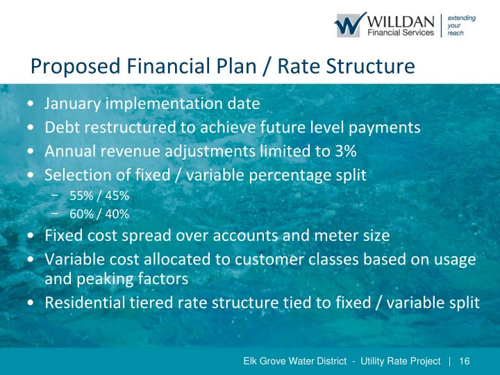 Proposed Financial Plan / Rate Structure