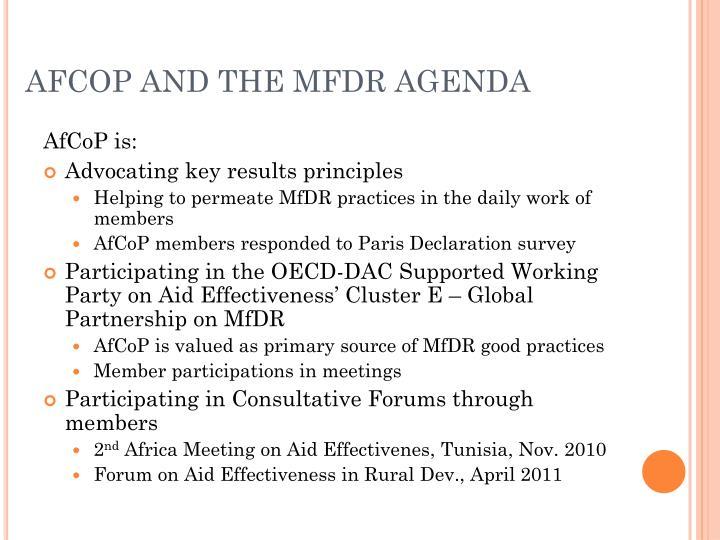 AFCOP AND THE MFDR AGENDA