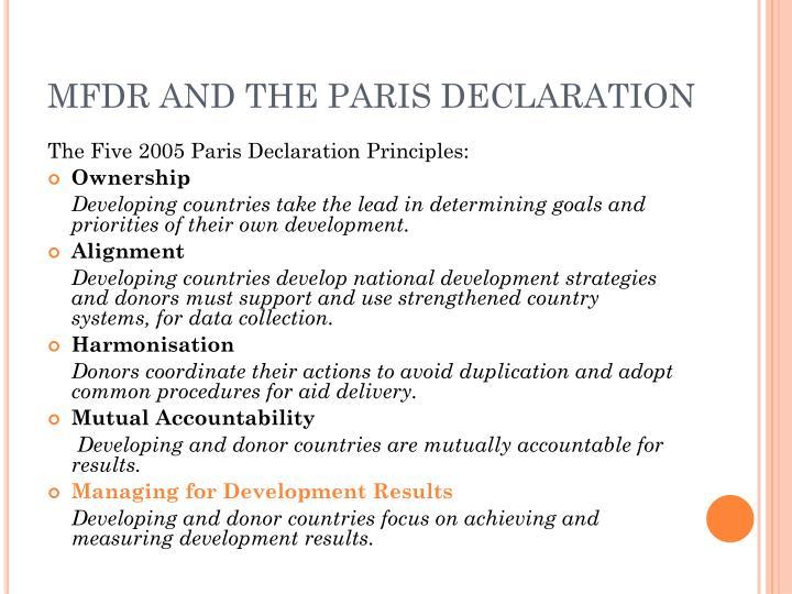 MFDR AND THE PARIS DECLARATION
