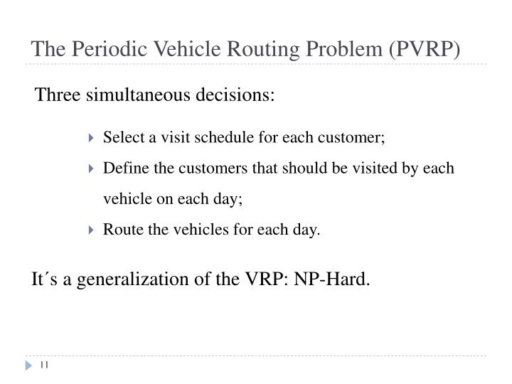 The Periodic Vehicle Routing Problem (PVRP)