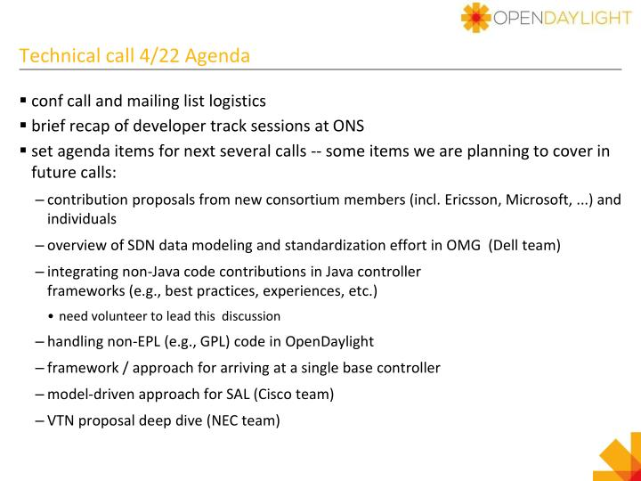 Technical call 4 22 agenda