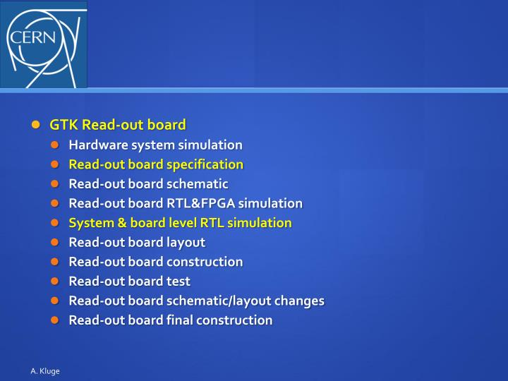 GTK Read-out board