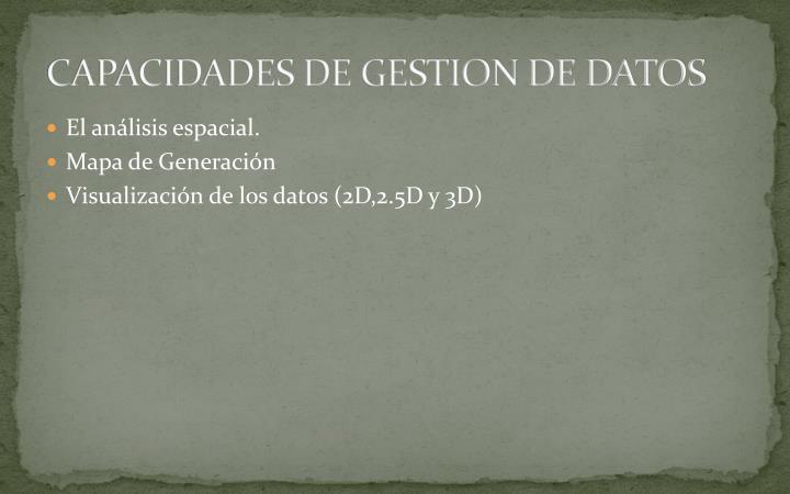 CAPACIDADES DE GESTION DE DATOS