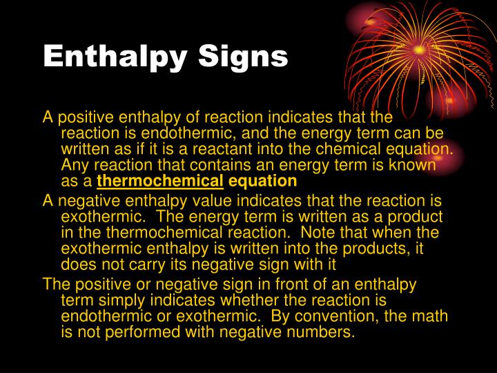 Enthalpy Signs