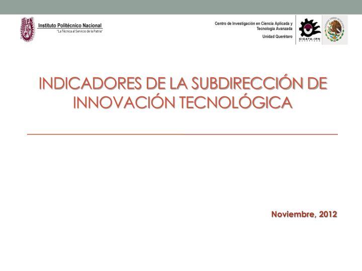 Indicadores de la subdirección de innovación tecnológica