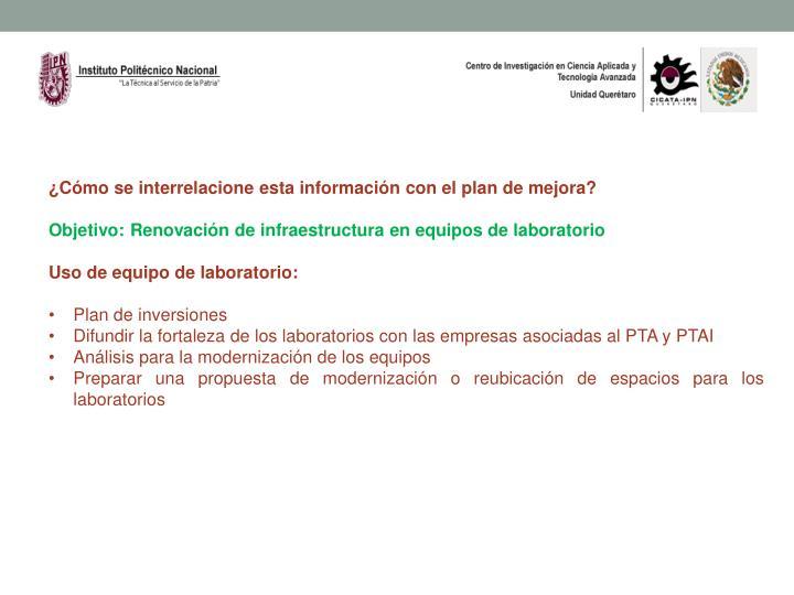 ¿Cómo se interrelacione esta información con el plan de mejora?