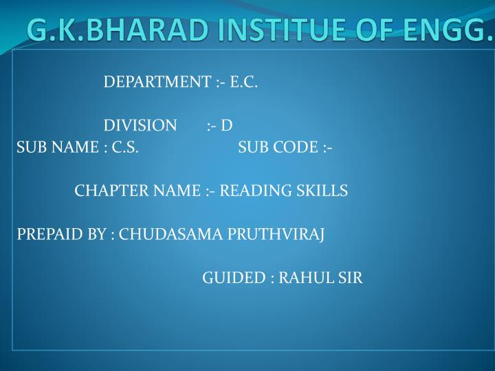 G k bharad institue of engg