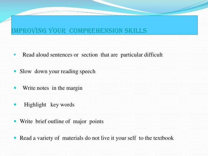 Improving your comprehension skills