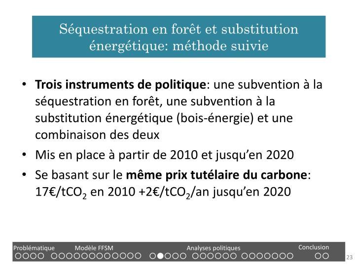 Séquestration en forêt et substitution énergétique: méthode suivie