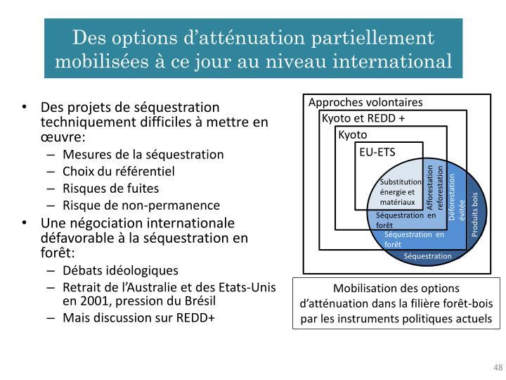 Des options d'atténuation partiellement mobilisées à ce jour au niveau international