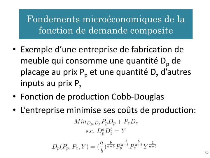 Fondements microéconomiques de la fonction de demande composite