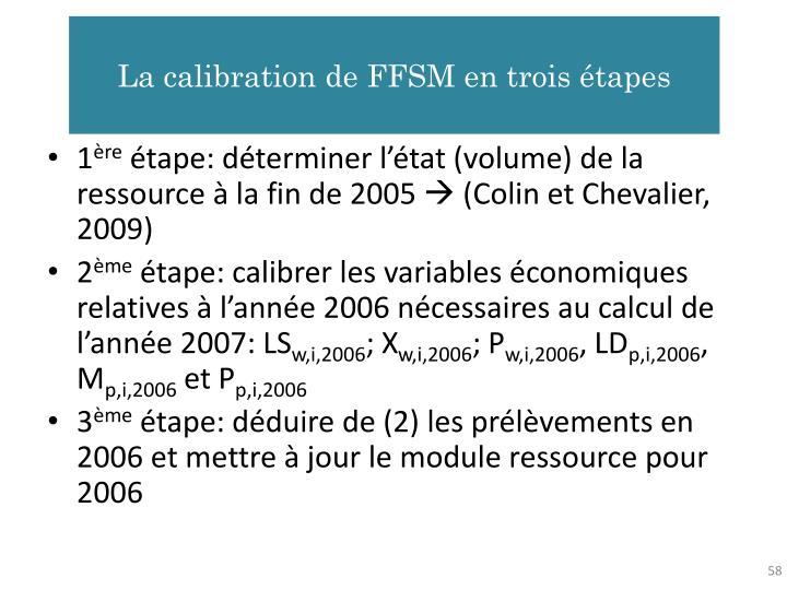 La calibration de FFSM en trois étapes