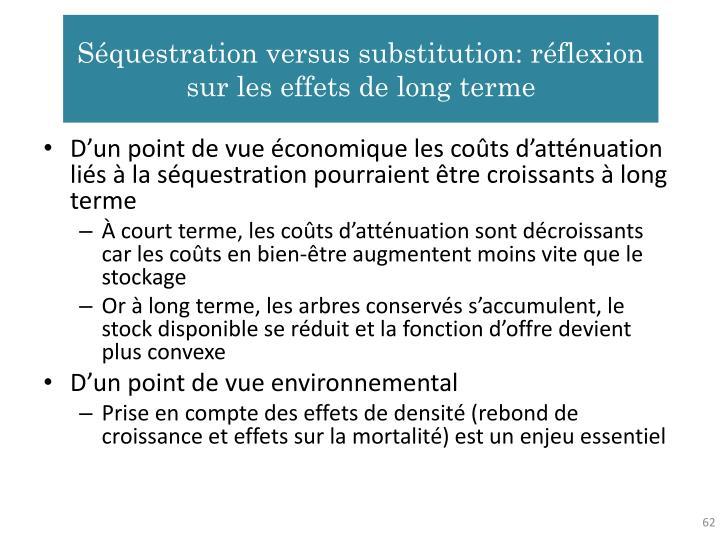 Séquestration versus substitution: réflexion sur les effets de long terme