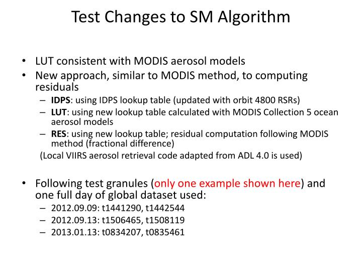 Test Changes to SM Algorithm