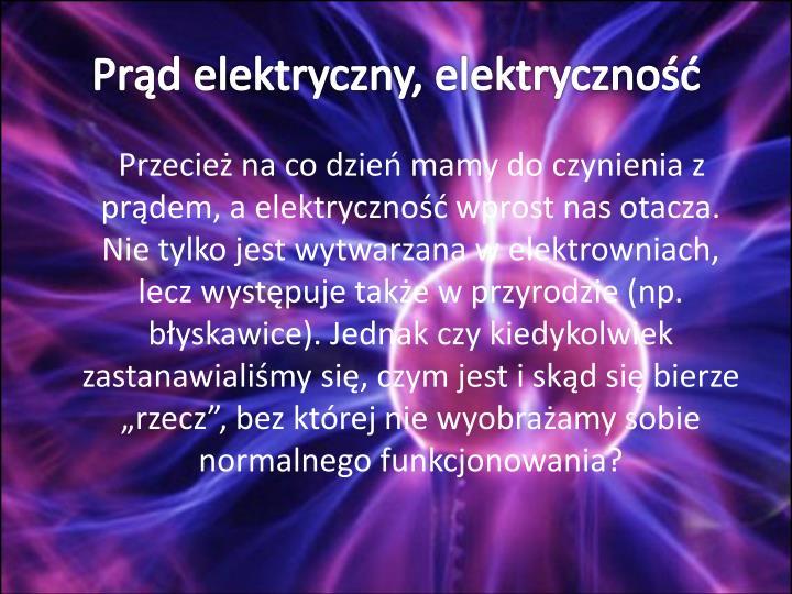 Prd elektryczny, elektryczno