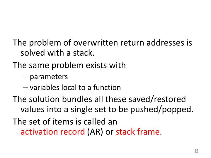 The problem of overwritten return addresses is solved with a stack.