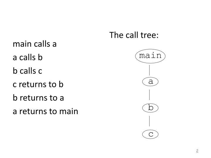 main calls a