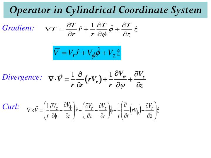 Operator in Cylindrical Coordinate System