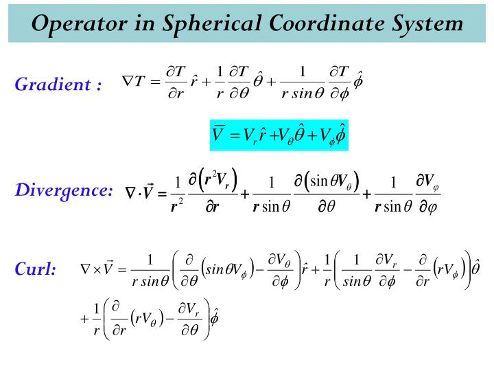 Operator in Spherical Coordinate System