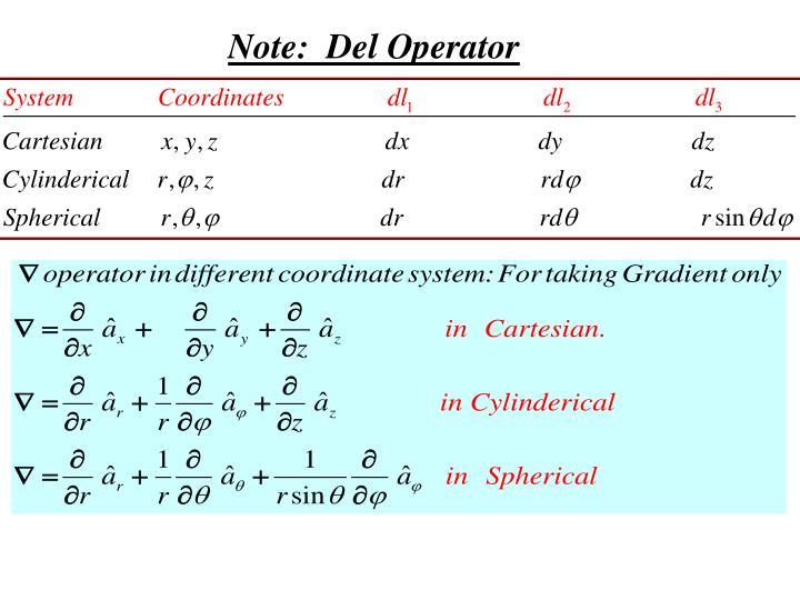 Note:  Del Operator