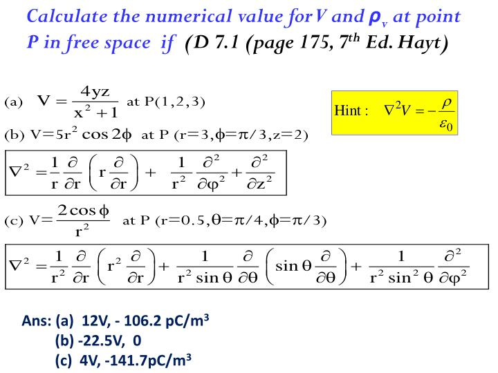 Calculate the numerical value for V and