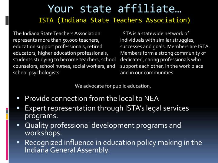 Your state affiliate…