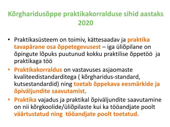 Kõrgharidusõppe praktikakorralduse sihid aastaks 2020