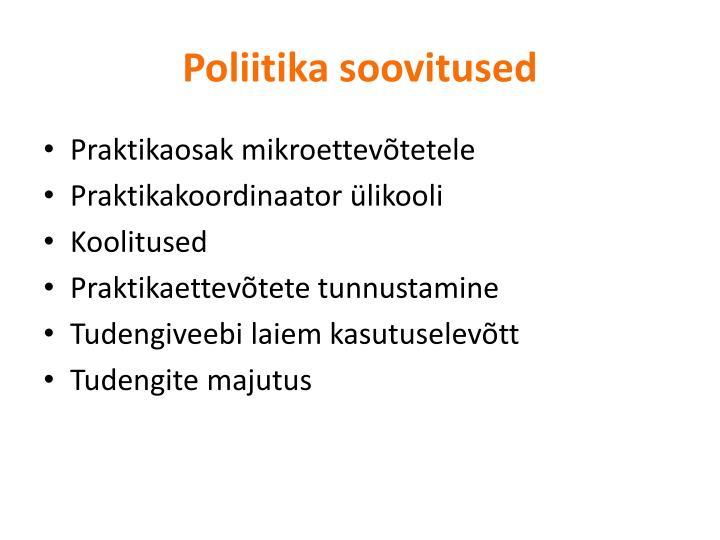 Poliitika soovitused