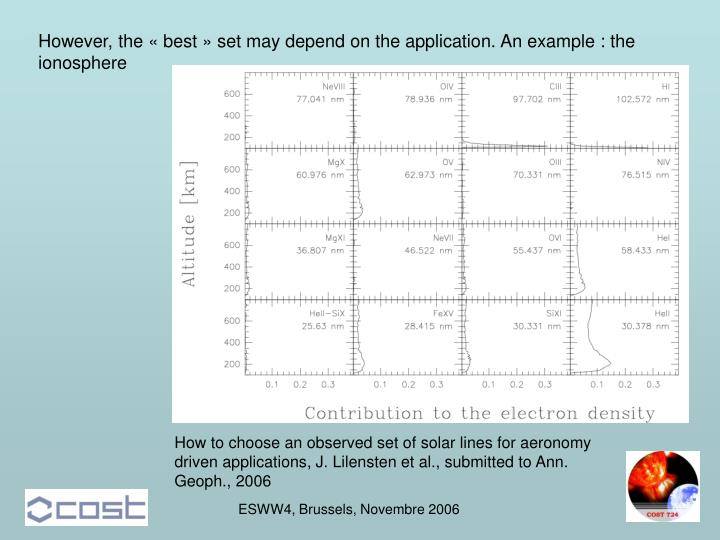 However, the « best » set may depend on the application. An example : the ionosphere