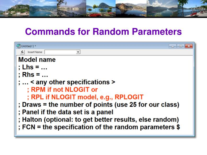 Commands for Random Parameters