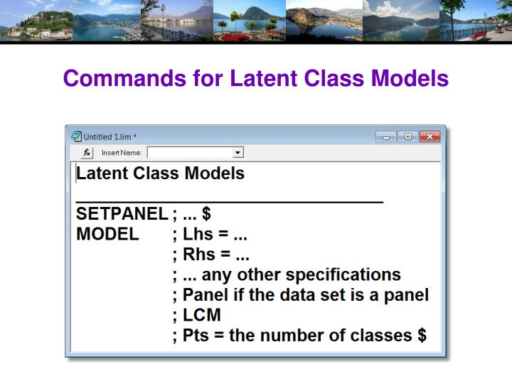 Commands for Latent Class Models