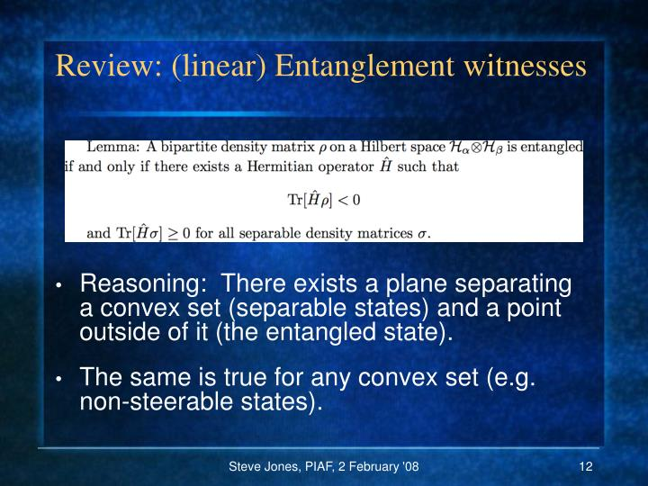 Review: (linear) Entanglement witnesses