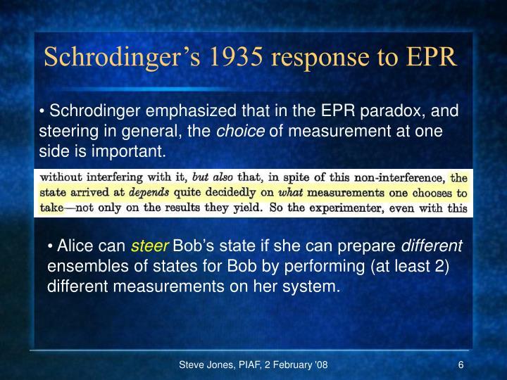 Schrodinger's 1935 response to EPR