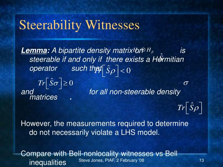 Steerability Witnesses
