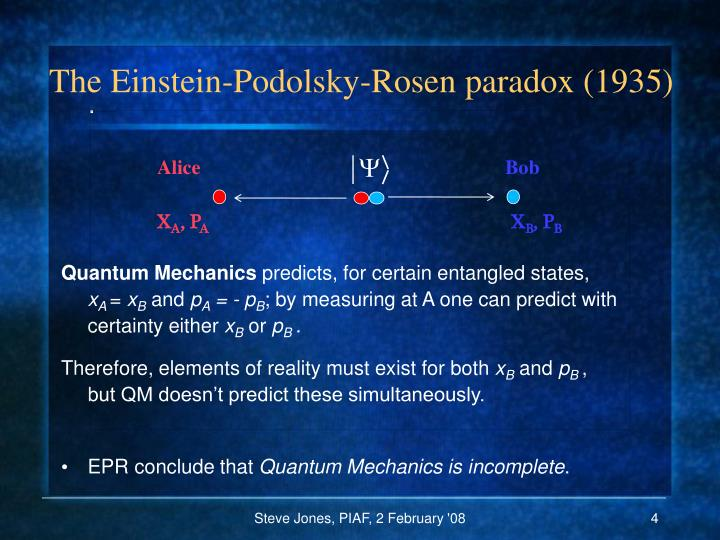 The Einstein-Podolsky-Rosen paradox (1935)