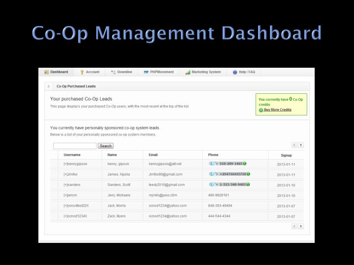 Co-Op Management Dashboard