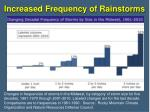 increased frequency of rainstorms