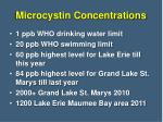 microcystin concentrations