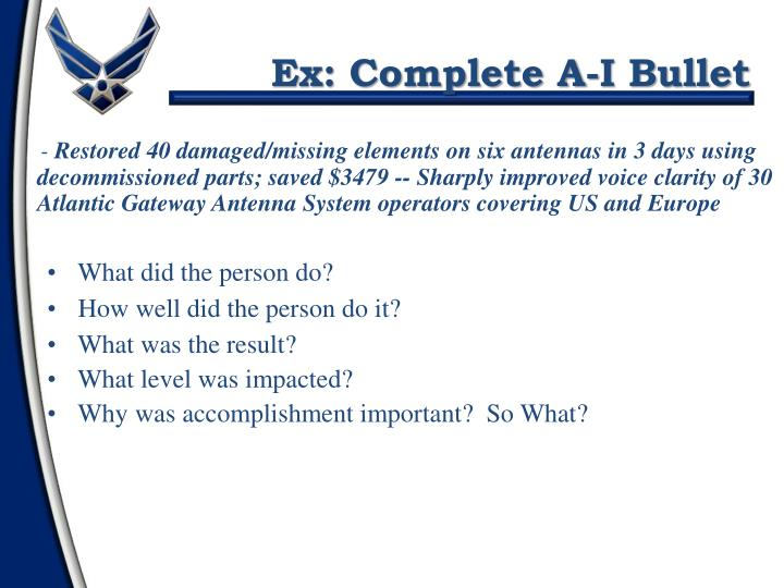 Ex: Complete A-I Bullet