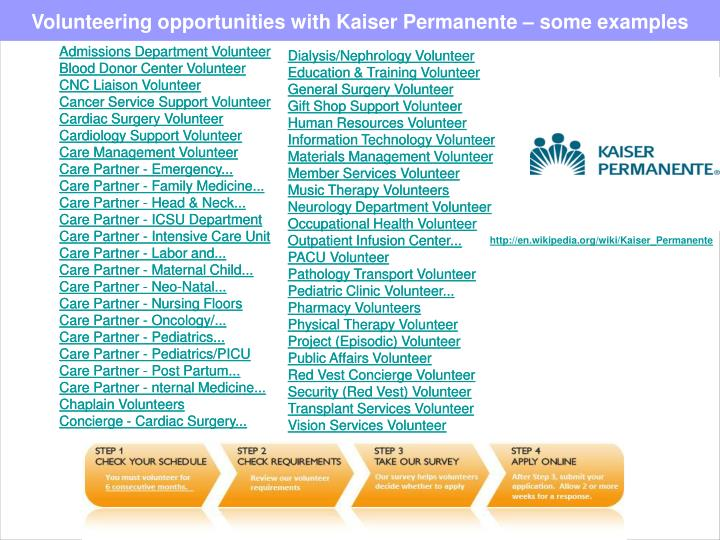 Volunteering opportunities with Kaiser Permanente – some examples