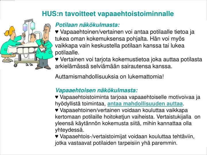 HUS:n tavoitteet vapaaehtoistoiminnalle