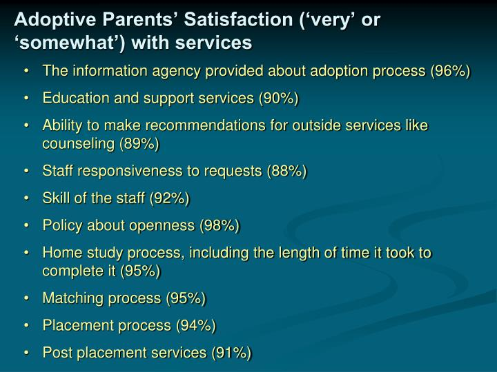 Adoptive Parents' Satisfaction ('very' or 'somewhat') with services