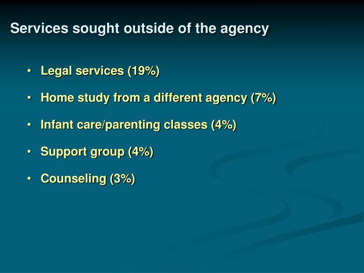 Services sought outside of the agency