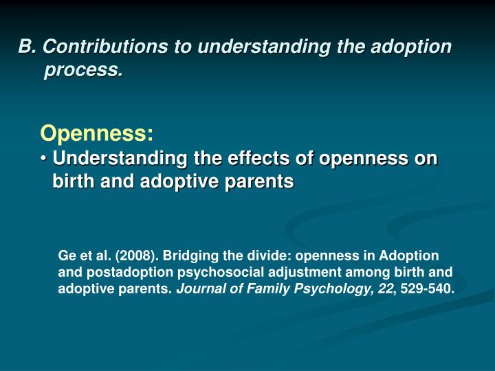 B. Contributions to understanding the adoption