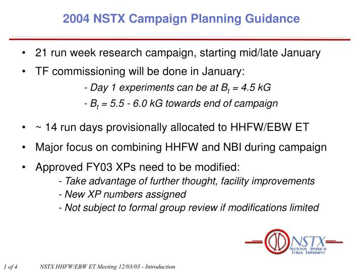 2004 nstx campaign planning guidance