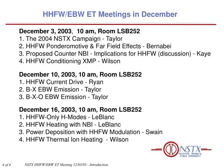 HHFW/EBW ET Meetings in December