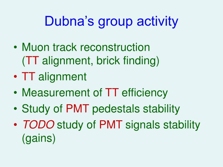 Dubna s group activity